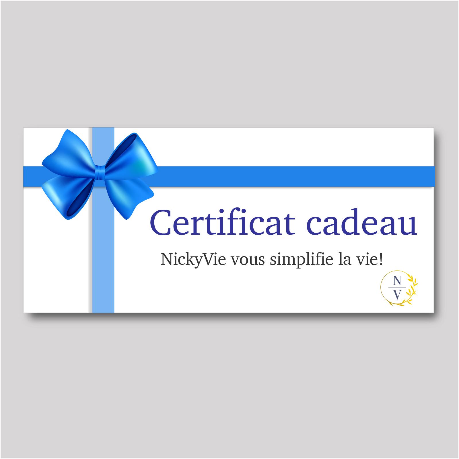 Certificat cadeau pour des services de conciergerie à domicile