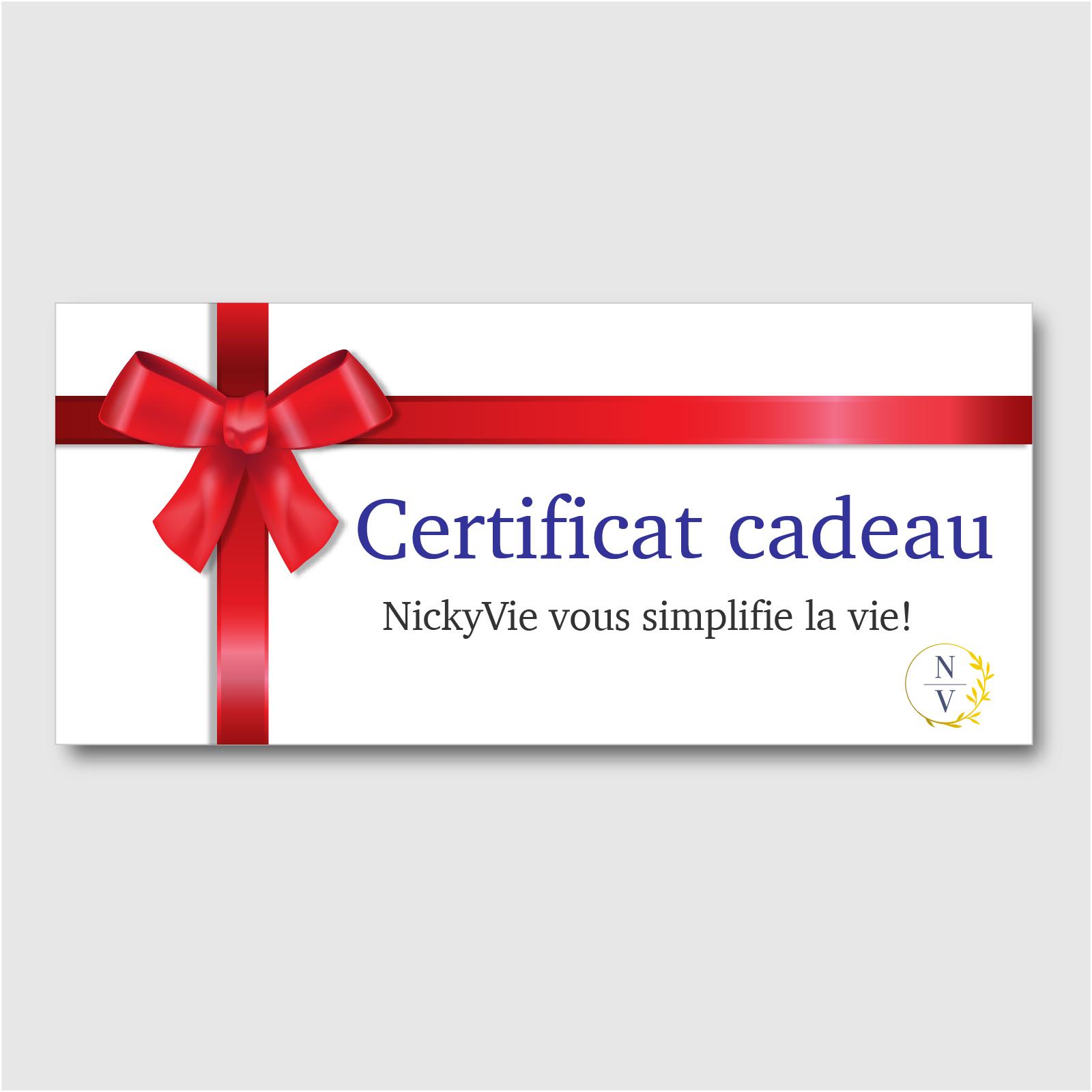 Certificat cadeau pour des services de magasinage personnalisé