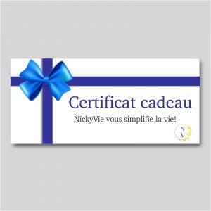 Certificat cadeau pour des services de magasinage personnalisé et conciergerie à domicile